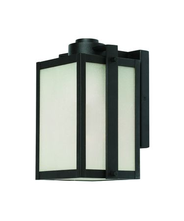 Shown in Black finish and Frosted Seeded glass
