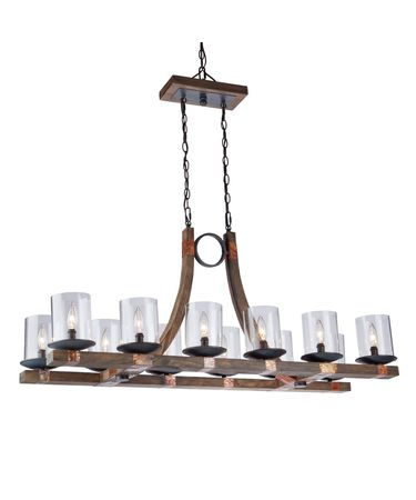 Shown in Copper-Pine finish and Clear glass