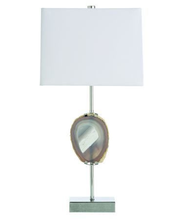 Shown in Polished Nickel finish, Gray glass and White shade
