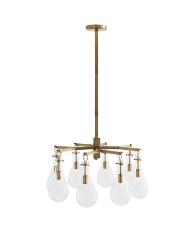 Shown in Vintage Brass finish and Clear Teardrop glass