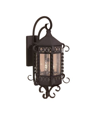Shown in Blacksmith finish and Seeded glass