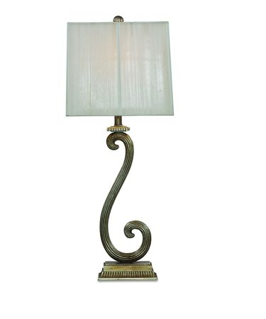 Shown in Antique Silver finish and Fabric shade