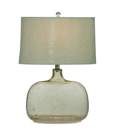 Shown in Clear Seeded Glass finish and Fabric shade