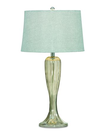 Shown in Greenish Glass finish and Fabric shade
