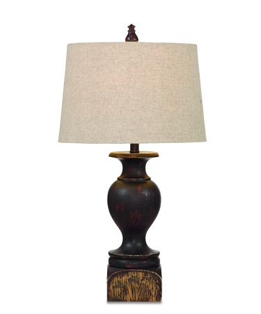Shown in Burnished-Red Rubbed Gold finish and Fabric shade