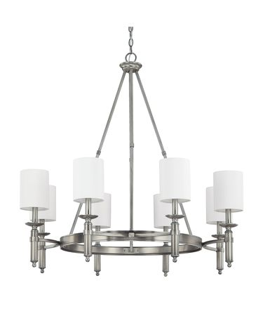 Shown in Antique Nickel finish and Fabric shade