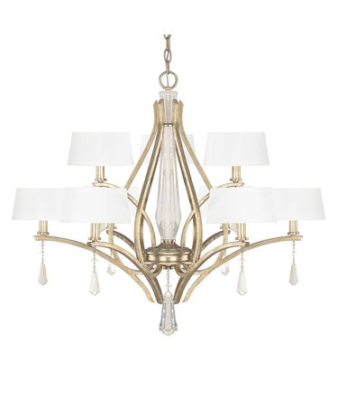 Shown in Winter Gold finish, Clear crystal and White shade