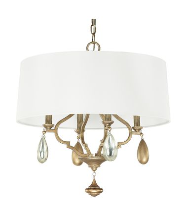Shown in Brushed Gold finish, Silver crystal and White shade
