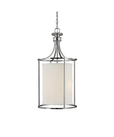 Shown in Polished Nickel finish and White Fabric shade