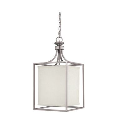 Shown in Matte Nickel finish and White Fabric shade