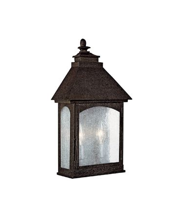 Shown in Rustic Iron finish and Clear Seeded glass