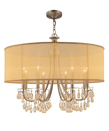 Shown in Antique Brass finish, Etruscan Smooth Oysters crystal and Gold Silk Shimmer shade