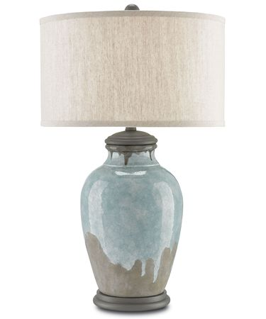Shown in Blue-Green-Gray-Hiroshi Gray finish and Oatmeal Linen shade