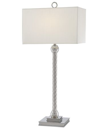 Shown in Polished Nickel finish and Eggshell Shantung shade