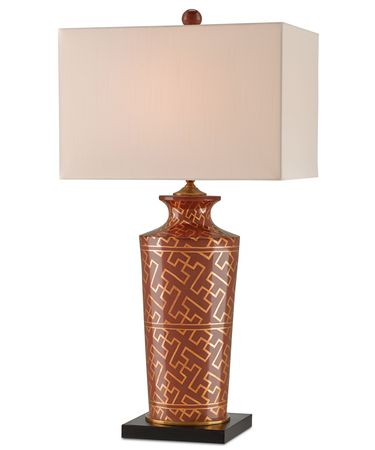 Shown in Coral-Antique Brass-Black finish and Eggshell Shantung shade