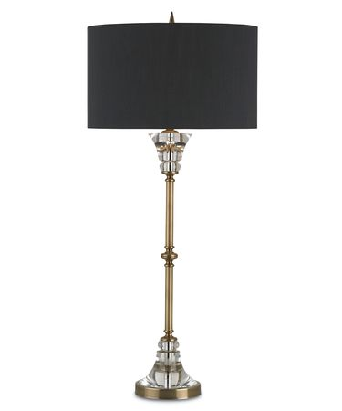 Shown in Coffe Brass-Clear finish and Black Shantung shade