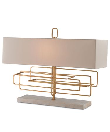 Shown in Contemporary Gold Leaf finish and Eggshell Shantung shade