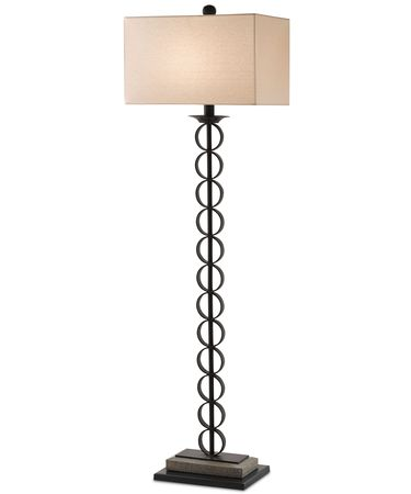 Shown in Black Bronze-Polished Concrete finish and Off White Linen shade