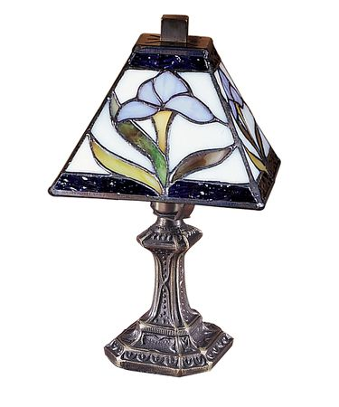 Shown in Antique Brass Plating finish and Hand Rolled Art Glass shade