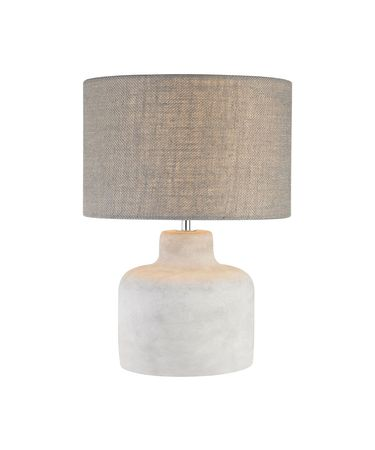 Shown in Polished Concrete finish and Round Light Grey Burlap shade