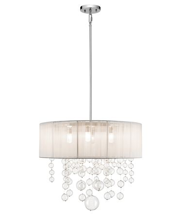 Shown in Chrome finish, Clear Round Blown glass and White shade