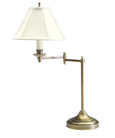 Shown in Antique Brass finish and Off-White Softback shade