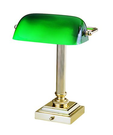Shown in Polished Brass finish and Green Glass glass