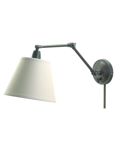 Shown in Oil Rubbed Bronze finish and Off-White Linen Hardback shade