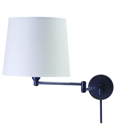Shown in Oil Rubbed Bronze finish and Off White Linen Hardback shade