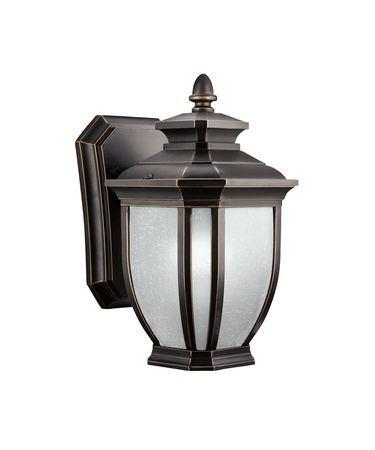 Shown in Rubbed Bronze finish and White Linen glass