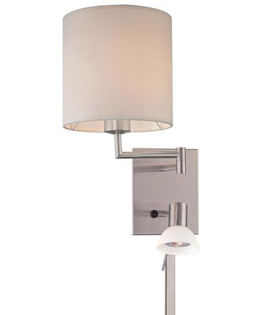 Shown in Brushed Nickel finish, Frosted glass and Fabric shade