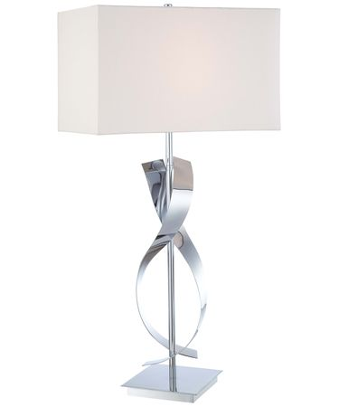 Shown in Chrome finish and White Linen shade