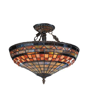 Landmark Lighting 614 Jewelstone 16 Inch Semi Flush Mount