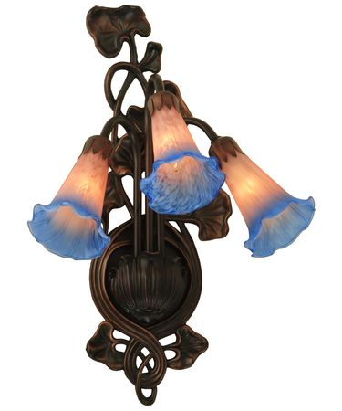 Shown in Mahogany Bronze finish and Mottled Indigo Blue-Pink glass
