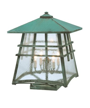 Shown in Verdigris finish and Clear Seedy glass