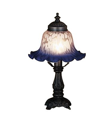 Shown in Mahogany Bronze finish and Mottled Indigo Blue-Petal Pink glass