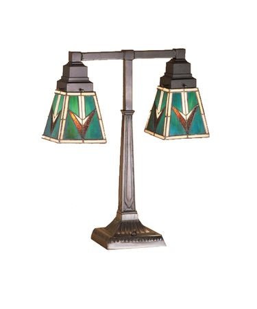 Shown in Mahogany Bronze finish and Bark Brown-Sand Beige-Turquoise glass