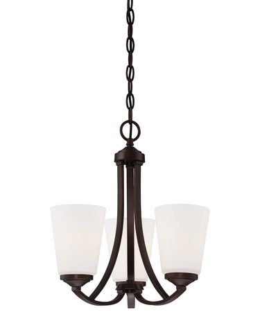 Shown in Vintage Bronze finish and Etched White glass