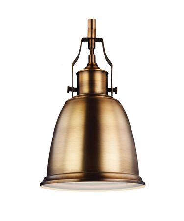 Shown in Aged Brass finish and Metal shade