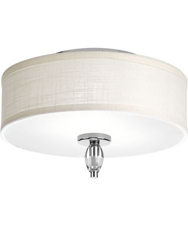 Shown in Polished Chrome finish and White textured Linen shade