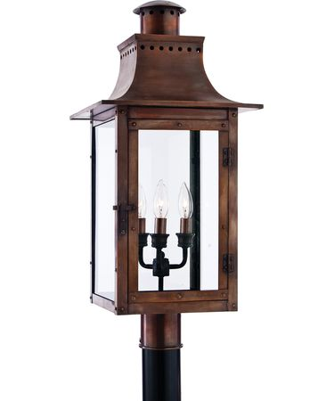 Shown in Aged Copper finish and Clear Beveled glass