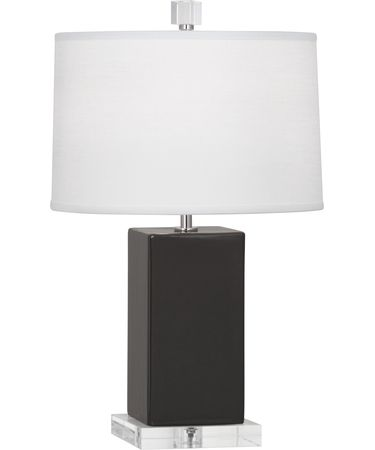 Shown in Polished Nickel-Charcoal Ash finish and Oyster Linen shade