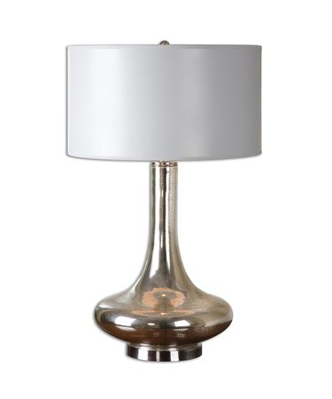 Shown in Mottled Mercury-Brushed Nickel finish and Light Gray Hand Painted shade