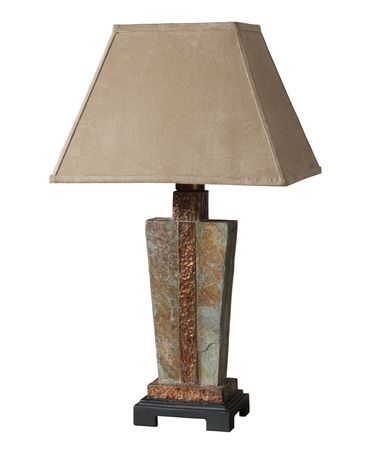 Shown in Slate finish and Sueded Fabric shade