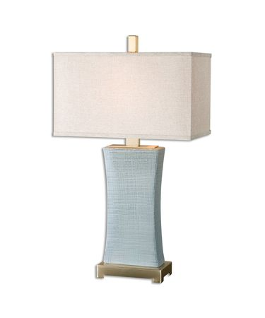 Shown in Coffee Bronze finish, Rust Beige shade and Pale Blue Ceramic accent