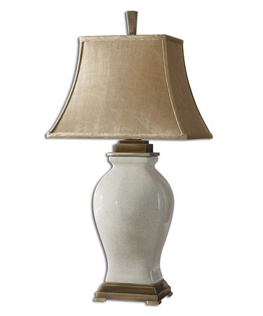 Shown in Crackled Aged Ivory finish, Crackled Aged Ivory glass and Champagne Fabric shade
