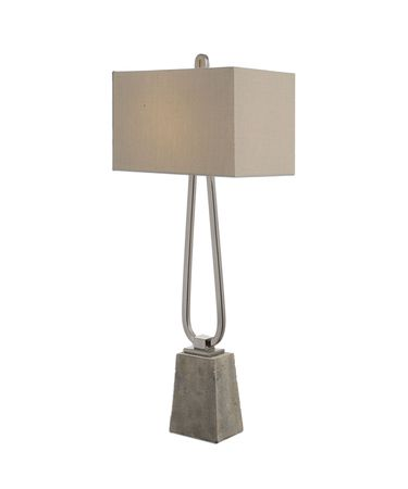 Shown in Plated Polished Nickel finish and Taupe Bronze Linen shade