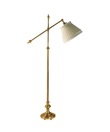 Shown in Antique-Burnished Brass finish and Linen shade