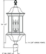 Hanover Lantern B5529 Manor Signature Large 4 Light Outdoor Post Lamp